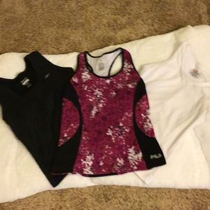 3 exercise tops with built in bras